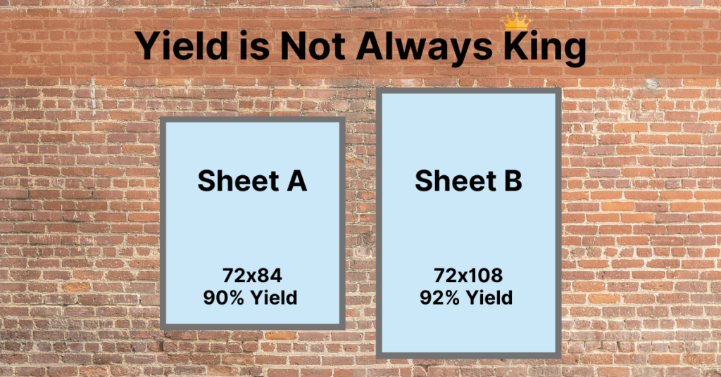 Yield is not always the deciding factor as to whether or not money is saved. Rather scrap rate can help material optimization.